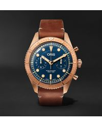 Oris Carl Brashear Automatic Chronograph 43mm Burnished Bronze And Leather Watch, Ref. No. 01 774 7744 3185 - Blue