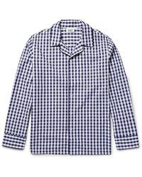 Sleepy Jones Henry Gingham Cotton Pyjama Shirt - Blue