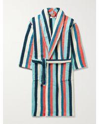 Desmond & Dempsey Medina Striped Cotton-terry Robe - Blue