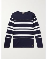 Armor Lux Slim-fit Striped Cotton-jersey T-shirt - Blue