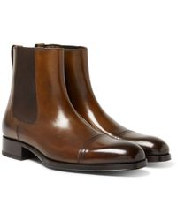 Tom Ford | Edgar Burnished-leather Cap-toe Chelsea Boots | Lyst
