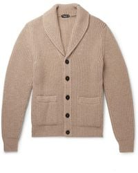 Tom Ford Shawl-collar Cable-knit Cashmere And Mohair-blend Cardigan - Multicolour