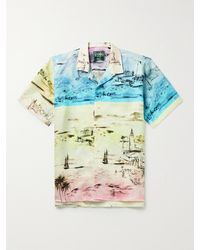 Gitman Brothers Vintage Camp-collar Printed Linen Shirt - Blue