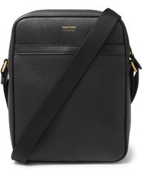 Tom Ford Full-grain Leather Messenger Bag - Black