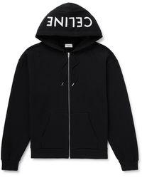 CELINE HOMME Logo-print Cotton-jersey Zip-up Hoodie - Black