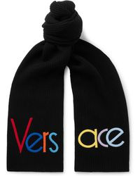 Versace - Logo-embroidered Ribbed Wool Scarf - Lyst