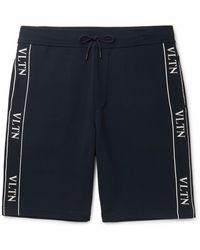 Valentino Logo-jacquard Stretch-knit Shorts - Blue