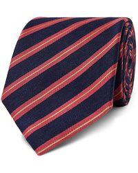Charvet 7.5cm Striped Silk And Linen-blend Tie - Blue