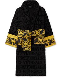 Versace Printed Satin-trimmed Logo-jacquard Cotton-terry Robe - Black