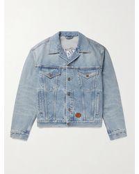 Gucci Disney Leather-trimmed Embroidered Organic Denim Jacket - Blue