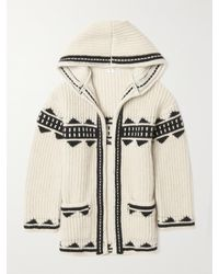 Saint Laurent Wool-blend Jacquard Hooded Cardigan - Natural