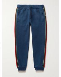Gucci Tapered Logo-jacquard Webbing-trimmed Cashmere-blend Joggers - Blue