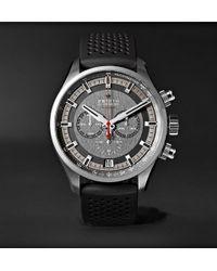 Zenith El Primero Sport 45mm Stainless Steel And Rubber Watch - Black