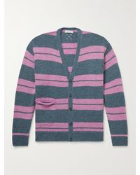 Pop Trading Company Striped Knitted Cardigan - Blue