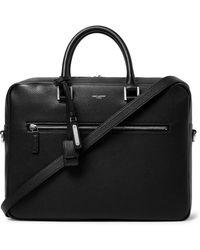 Saint Laurent Full-grain Leather Briefcase - Black