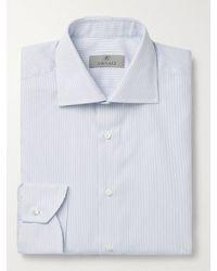 Canali Cutaway-collar Striped Cotton Shirt - Blue