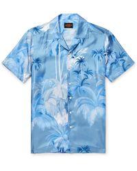 Tod's Camp-collar Printed Silk-twill Shirt - Blue