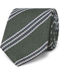 Ermenegildo Zegna - 7cm Striped Textured-silk Tie - Lyst