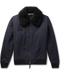 CONNOLLY Goodwood Shearling-trimmed Wool Jacket - Blue