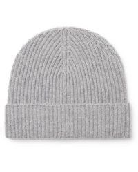 Lock & Co. Ribbed Cashmere Beanie - Grey
