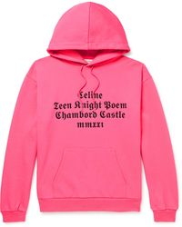 CELINE HOMME Printed Cotton-jersey Hoodie - Pink
