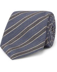Canali - 8cm Striped Mélange Wool And Silk-blend Tie - Lyst