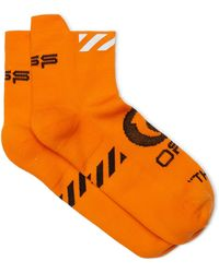 Off-White c/o Virgil Abloh Logo-intarsia Stretch-knit No-show Socks - Orange