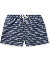 Club Monaco Arlen Slim-fit Short-length Printed Swim Shorts - Blue