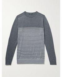 Peter Millar Crown Crafted Striped Merino Wool-blend Jumper - Grey