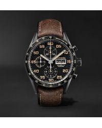 Tag Heuer | Carrera Automatic Chronograph 45mm Titanium And Leather Watch | Lyst