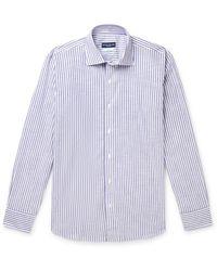 Peter Millar Striped Cotton-chambray Shirt - Blue