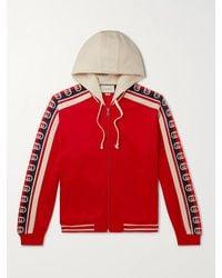 Gucci Webbing-trimmed Tech-jersey Zip-up Hoodie - Red
