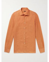Rubinacci Spread-collar Linen Shirt - Orange