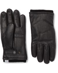 Norse Projects Hestra Utsjo Wool Blend-lined Full-grain Leather Gloves - Black