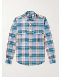 Drake's Slim-fit Checked Linen And Cotton-blend Shirt - Blue