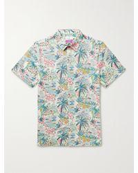 Onia Samuel Printed Linen And Cotton-blend Shirt - Blue