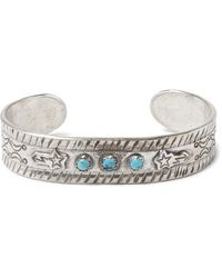 Peyote Bird Sterling Silver Turquoise Cuff - Metallic