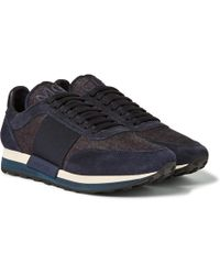 Moncler - Horace Suede And Denim Trainers - Lyst