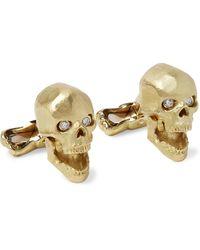 Deakin & Francis Skull 18-karat Gold And Diamond Cufflinks - Metallic