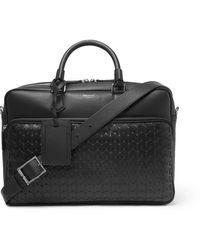 Serapian Woven Leather Briefcase - Black