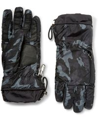 Prada - Leather-trimmed Camouflage-print Nylon Gloves - Lyst