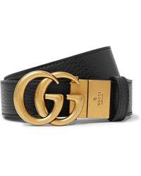 Gucci 3.5cm Logo-detailed Full-grain Leather Belt - Black
