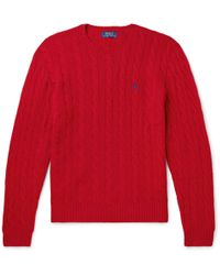 Polo Ralph Lauren - Cable-knit Merino Wool And Cashmere-blend Sweater - Lyst