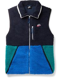Nike Colour-block Fleece And Shell Gilet - Blue