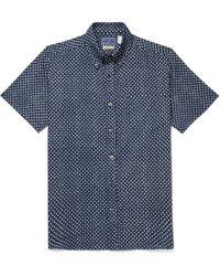 Blue Blue Japan - Slim-fit Button-down Collar Indigo-dyed Printed Cotton-gauze Shirt - Lyst