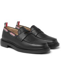 620ba9db91c Thom Browne - Grosgrain-trimmed Pebble-grain Leather Penny Loafers - Lyst