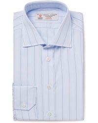 Turnbull & Asser - Light-blue Slim-fit Cutaway-collar Striped Cotton-poplin Shirt - Lyst