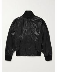 Fear Of God Leather Bomber Jacket - Black