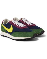 Nike Daybreak Gel Leather-trimmed Suede And Canvas Trainers - Blue