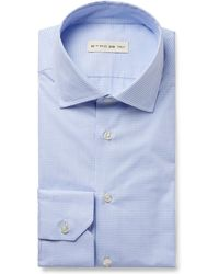 Etro - Light-blue Slim-fit Puppytooth Cotton-poplin Shirt - Lyst